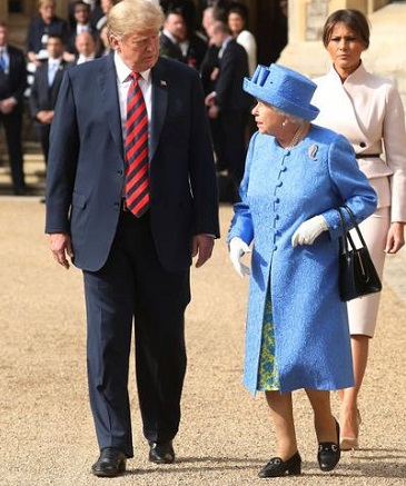 at Windsor Castle on July 13, 2018 in Windsor, England.  Her Majesty welcomed the President and Mrs Trump at the dais in the Quadrangle of the Castle. A Guard of Honour, formed of the Coldstream Guards, gave a Royal Salute and the US National Anthem was played. The Queen and the President inspected the Guard of Honour before watching the military march past. The President and First Lady then joined Her Majesty for tea at the Castle.